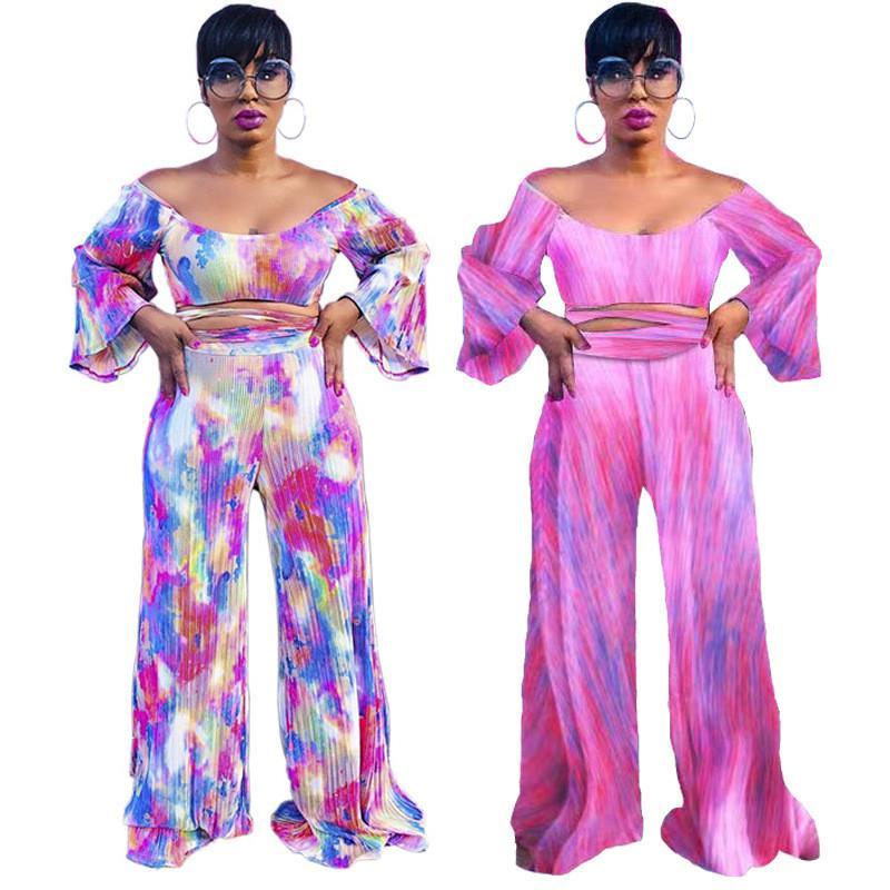 Diseñador sin tirantes de los chándales de las mujeres Tie Dye 2 pantalones piezas de la raya vertical del cuello atractivo de la llamarada Manga cuello en V para mujer Tops moda chándales