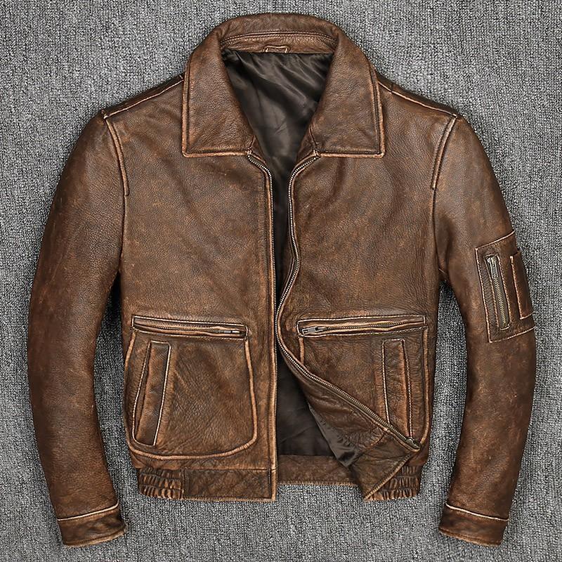 Los ciclistas para hombre de la vaca la capa de cuero natural más el tamaño 5XL de la vendimia adelgazan la chaqueta de cuero auténtico de negocios Escudo prueba de viento chaqueta informal