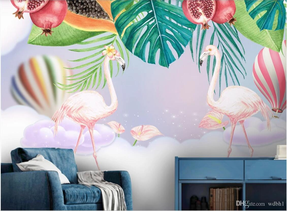 3d Room Wallpaper Custom Photo Non Woven Mural Nordic Ins Pink Couple Flamingo Children Room Background Wall Wall Art Canvas Pictures Wallpaper