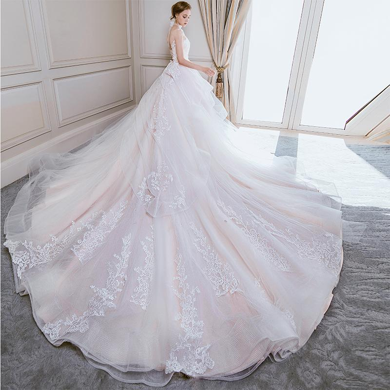 Wedding dress new brides luxury long tail wedding princess dream show thin Sen tie large size girl