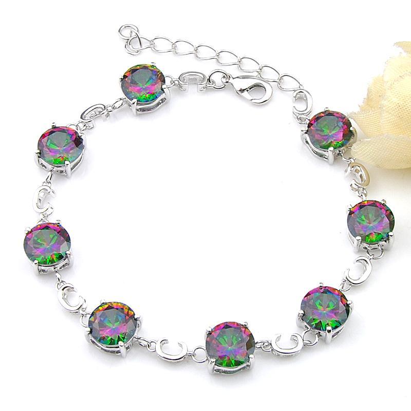 Luckyshine High Quality Holiday Gift Trendy Round Rainbow Mystic Topaz Gemstone 925 Silver Wedding Bracelets Jewelry B1141