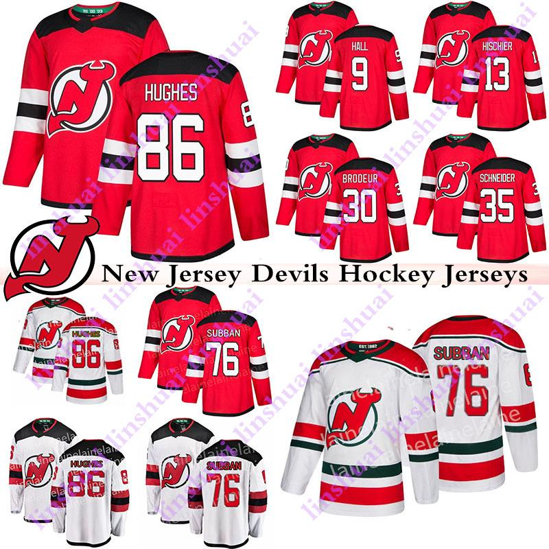 camisetas de New Jersey Devils 86 Jack Hughes maillot 76 PK 9 Subban Taylor Pasillo 13 Nico Hischier 30 Martin Brodeur Cory Schneider hockey