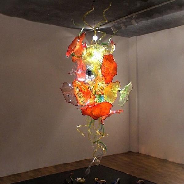 Hanging vitral Candelabro Iluminação Fantasia tradicional Mão vidro fundido Chandelier Itália Flower Design candelabro de cristal frete grátis