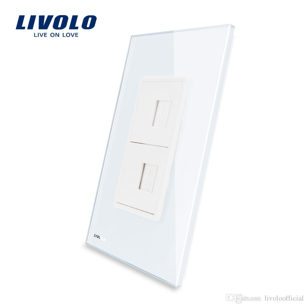 Livolo US/AU Standard Luxurious Telephone & Computer Socket(TEL/COM) With White/Black Pearl Crystal Glass