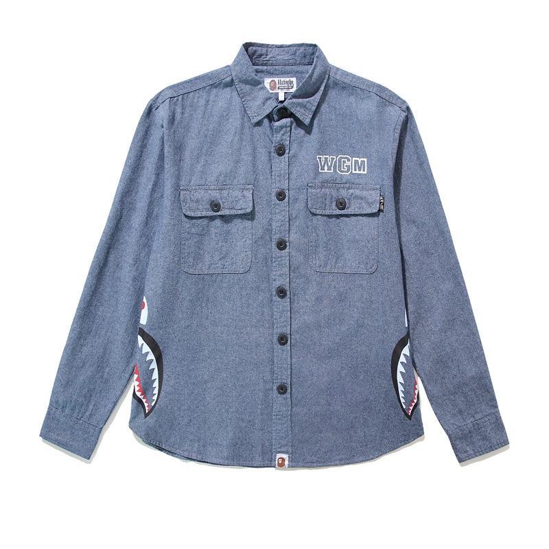 Yeni Japon çizgi film cebi gömlek erkekler rahat baskı gömlek Şık karikatür gömlek