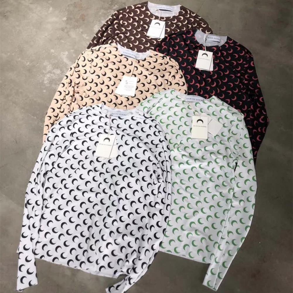 2020SS 뉴 마린 세리 티셔츠 여성 슬림 피트 긴 소매 해양 Serre Tee 1 : 1 태그 하프 문 로고 스트레치 소프트 티셔츠 T200407