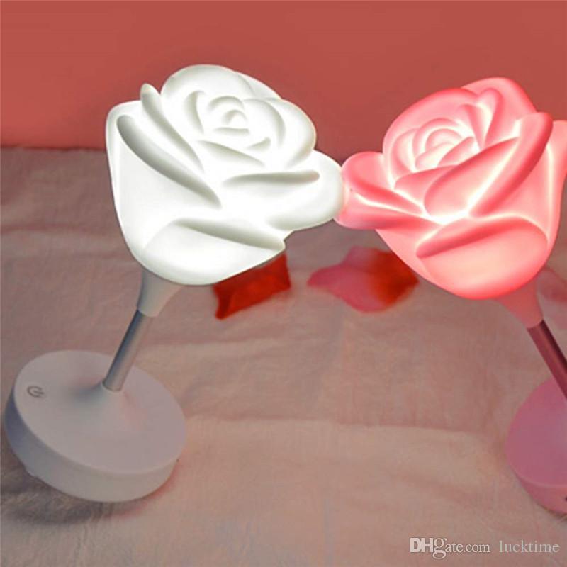 Mini Rose romántica luz ambiente cumpleaños amante de las fiestas Regalo portátil de intensidad regulable Rose LED noche enciende la lámpara recargable USB