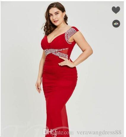 Scollo a V Guaina rosso sexy Plus Size abito da sera