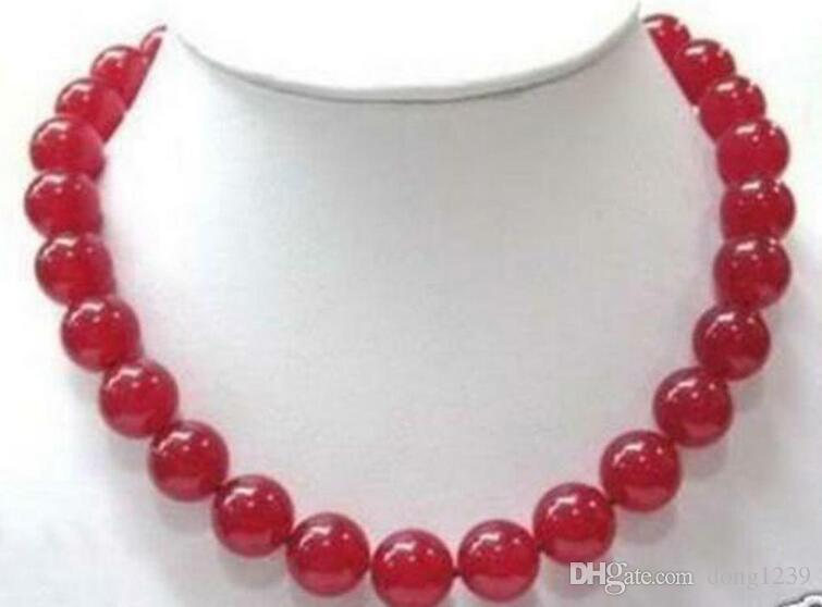 """Belle! Collier de perles rondes de 12 mm de rubis rouges 18 """""""
