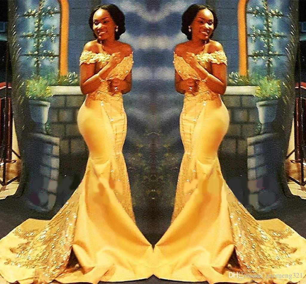 Africanos nigerianos amarillas sirena vestidos de baile 2020 de los hombros de encaje con lentejuelas Vestidos de noche de baile árabes vestidos de satén