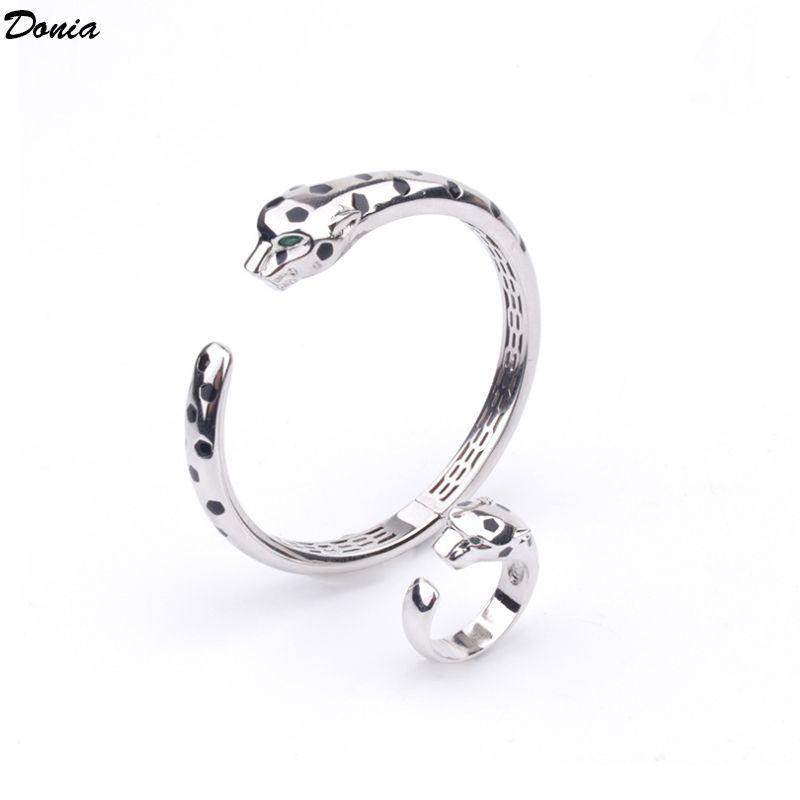 Dona gioielli Braccialetto di lusso europeo e americano moda classica leopardo epossidico rame intarsiato zirconia designer braccialetto anello set regalo