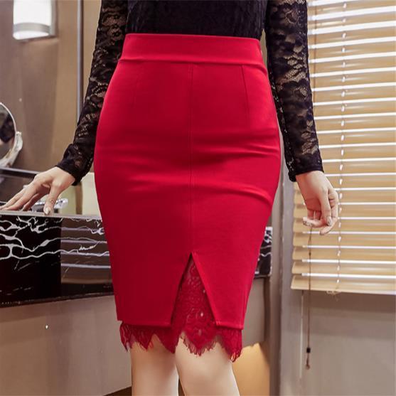Plus Size 5XL 2020 nova moda primavera saias alta magro wiast rendas sexy bordado saia Abrir Slit JR116 escritório verão elegante
