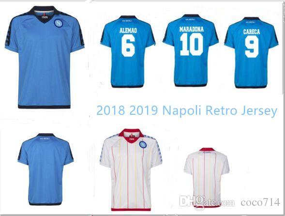 Acquista New 2018 2019 Napoli Retro Jersey 18 19 Napoli Blu Classico Bianco Maglia Da Calcio MERTENS ALEMAO CARECA MARADONA HAMSIK Annata Maglia Da ...