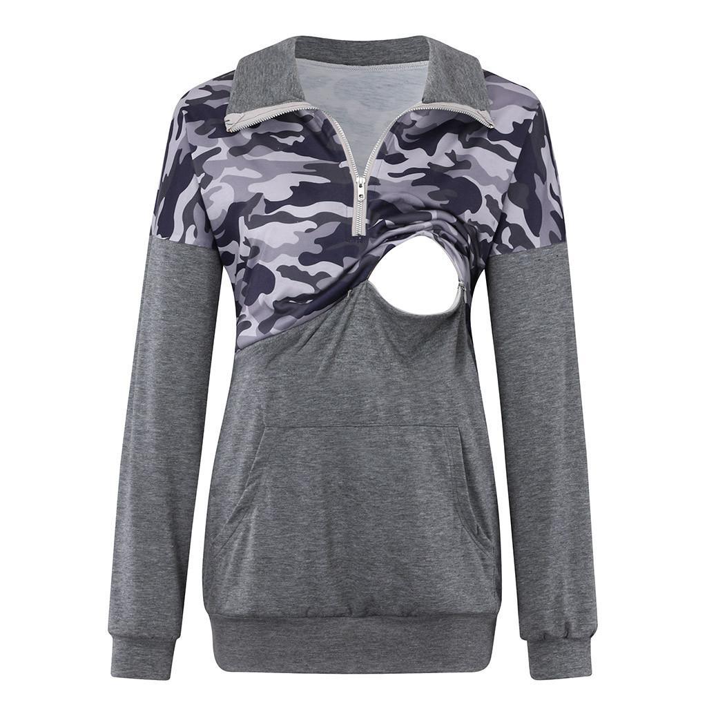 Maternidade da Mulher blusa primavera Camouflage amamentação superior de enfermagem de manga comprida para embarazada grávida T-shirt TOP CF