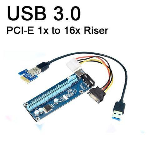 PCI-E PCIe PCI Express 1x إلى 16x Riser USB 3.0 Extender Cable with Sata to 4Pin IDE Molex Power Supply for BTC Miner RIG