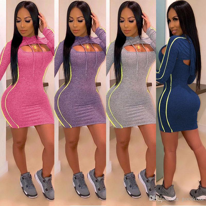 Kadınlar Mini Elbise iki Piece Kıyafetler uzun kollu Kapüşonlular Seksi Party Club Koşucu beden giysi üst BODYCON yelek Etek eşofman kırpmak set