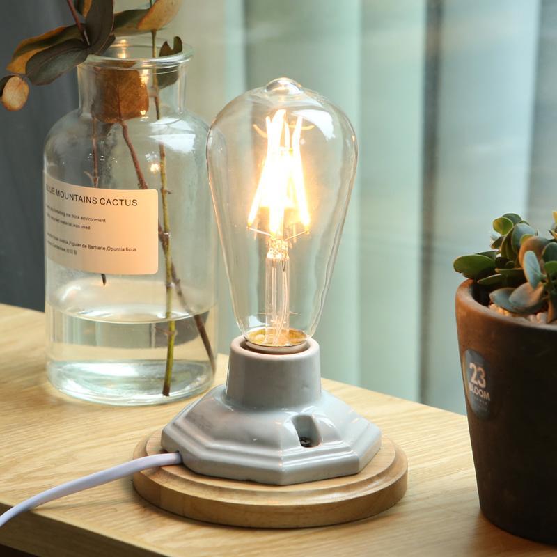 Base de madeira Vintage candeeiro de mesa de cerâmica Loft E27 Titular Edison luzes Lâmpada de mesa de iluminação Dimmer Switch Controle Desk Lamps