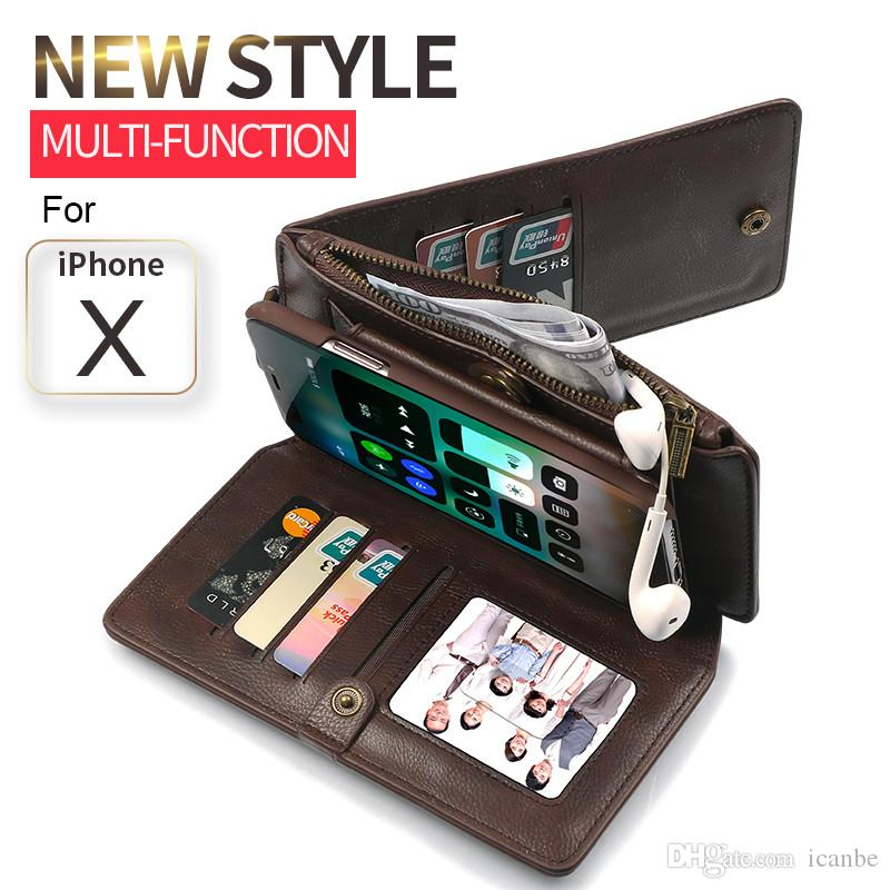 Multi Function Zipper Phone Cover Full Frame Design Protects Phone Case For Samsung S9 Plus Wallet Leather Case