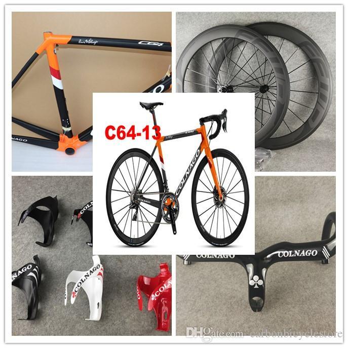 Orange Colnago C64 Matte Matte Cadre de vélo Colnago Carbon Guidon Colnago Bottle Cages Bob 50mm Roues de carbone