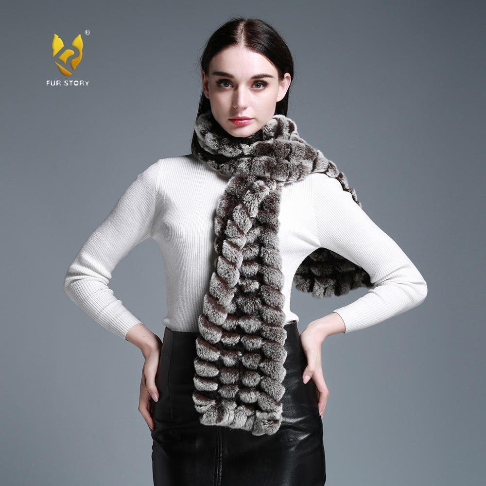 wholesale 050102B Long Real Rex Rabbit Fur knitting Scarf Neck Warmer Scarves Shawl Poncho Stole great christmas gift
