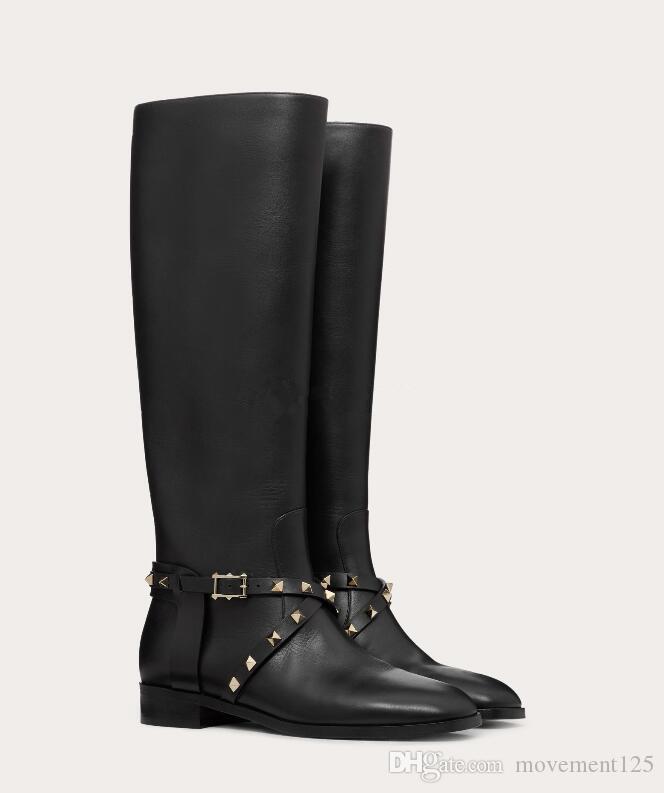 Mükemmel Marka Diz Boots Kaya Stud Dana derisi Deri Boot, Tall Tasarımcı Bayanlar Kız Ünlü kış boyunca Diz Uyluk Yüksek Boot 35-43