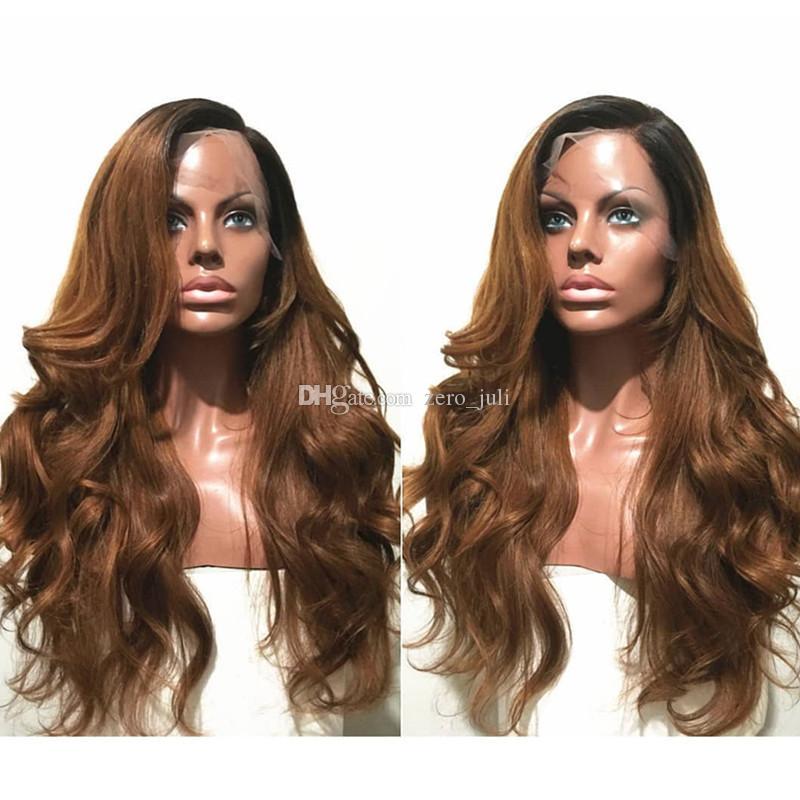 Pizzo parrucca frontale # 1b 30 Dark Roots Ombre nero a Blonde di miele merletto della parte anteriore parrucca capelli umani brasiliani piene del merletto