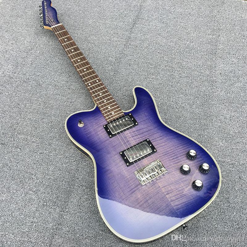 사용자 정의 저장소 고품질 TL 일렉트릭 기타, 보라색 불꽃의 참 피나무 몸, 단풍 나무 목, 크롬 하드웨어 도금, 무료 배송