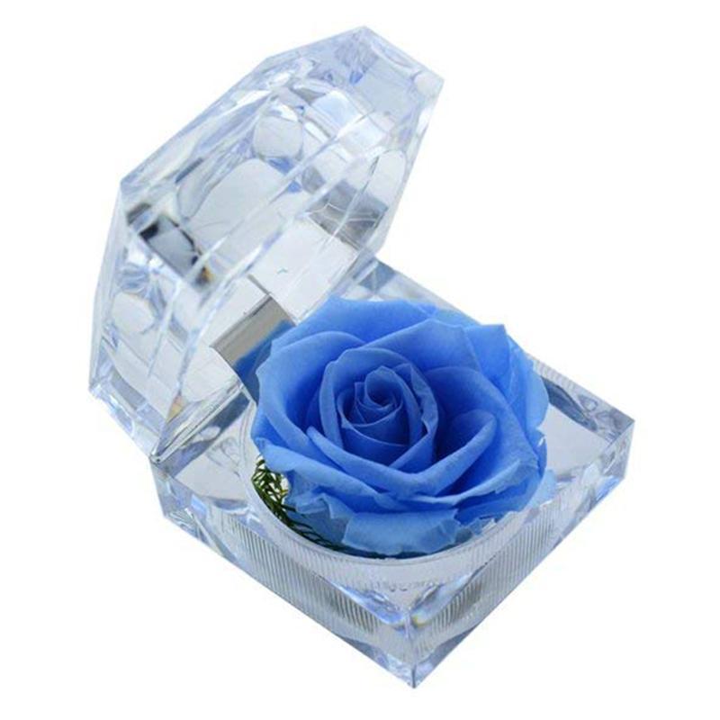 Fait à la main Conservé rose avec cristal acrylique Boîte de bague de proposition d'engagement (Blue Sky)