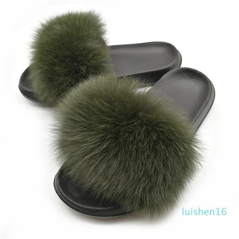 femminile caldo di inverno Fur pantofole femminile carino Fluffy Casa scarpe peluche capelli soffici pantofole donne diapositive Infradito Sandali L16