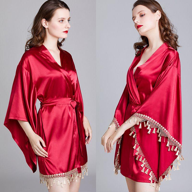 2020new luxueux pyjamas dames pyjama de mariage de robe de robe de soie de nuit Robes de femmes desserrées nuit-robes confortable peignoir dames