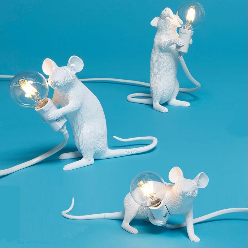 Modern Art Cute White Black Gold Resin Animal Rat Mouse Table Lamps Lights Black Gold Animal Mouse Desk Lamps Kids Gift Lovely Night Lights