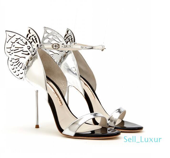 뜨거운 판매 - 소피아 웹스터 나비의 날개 샌들 하이힐에게 발목 스트랩 하이힐 파티 드레스 샌들 zapatos mujer을 검투