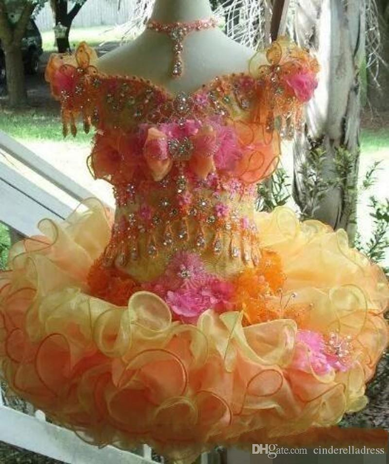 Sparkly beaded Little Girls Pageant Desses 2019 Jewel Neck Custom Made Long Sleeve Cupcake Kids Formal Wear Wedding Flower Girl Dress
