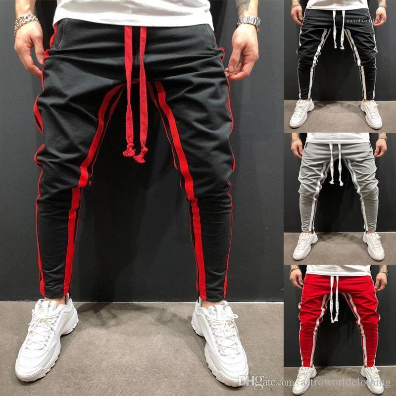 سروال عداء عادي ألوان طويلة مطاطية الخصر Pantalones Hombres Pantalonici السراويل الرجال الرياضة
