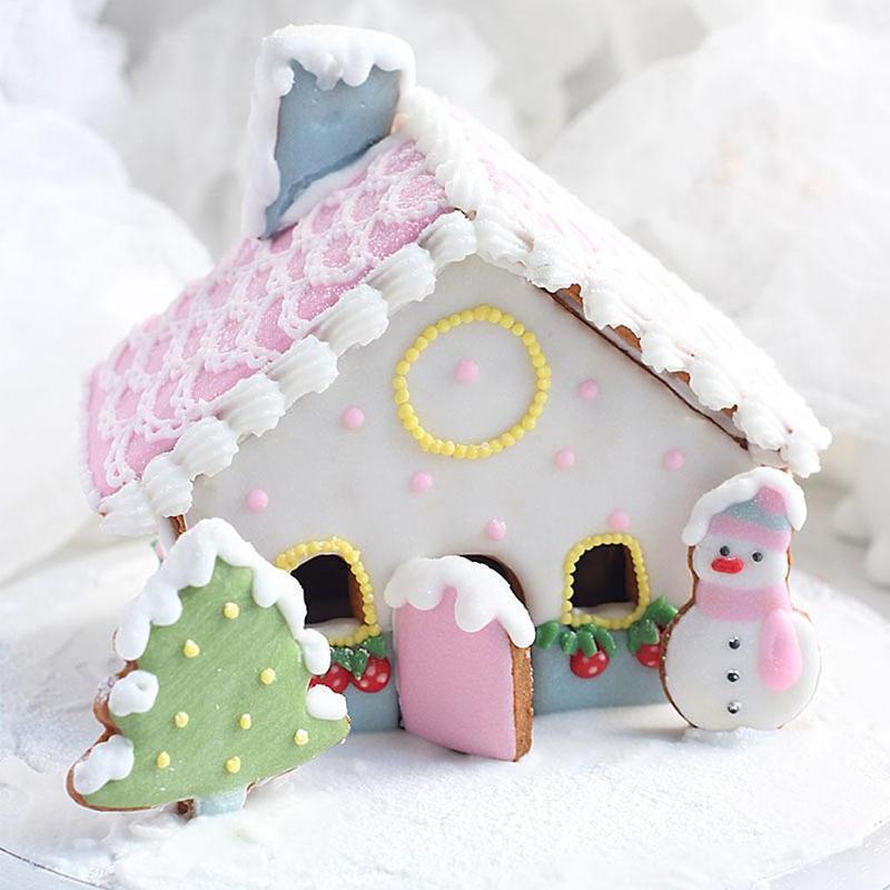 8pcs / set 크리 에이 티브 눈사람 하우스 쿠키 커터 Diy Fondant 초콜릿 케이크 양각 스텐실 금형 비스킷 금형 굽기 도구