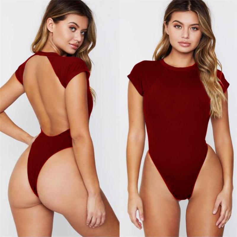 Mesdames été Backless solide Bikinis sexy taille haute Mode féminine Maillot ras du cou Plage précarisés Beachwears