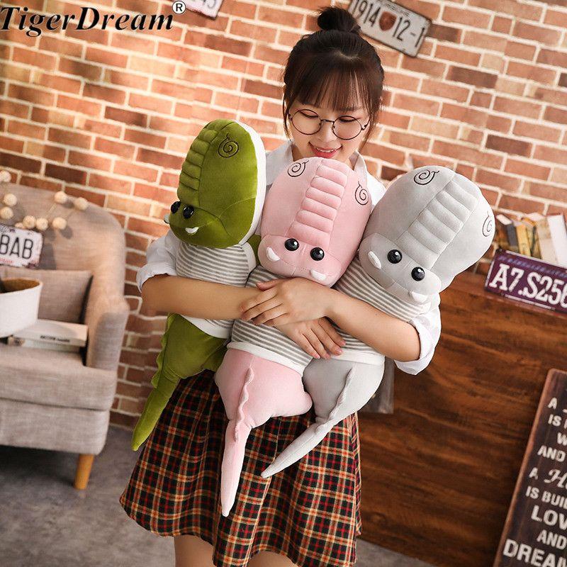 Envío libre de una pieza de cocodrilo grande con ropa muñecas de felpa suave PP algodón almohada cocodrilos cojín para niños juguetes 3 colores