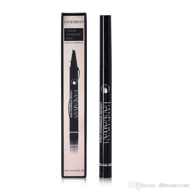 Preto Brown Lápis de sobrancelha 4 de garfo Micro Líquido sobrancelha com duração de 24 horas Waterproof Diário Natural nua maquiagem