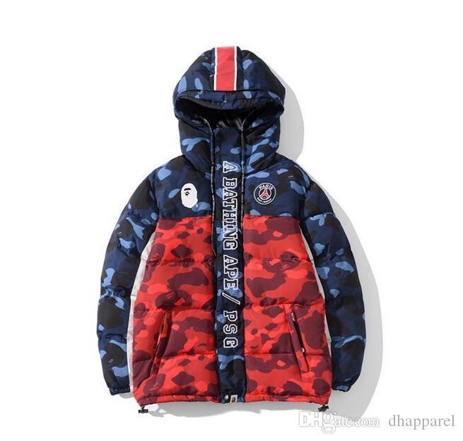 Autunno Inverno Nuovi Uomini Blu Rosso Camo Splice spessa Cerniera Giacca adolescente hip Hop Baseball giacca uniforme