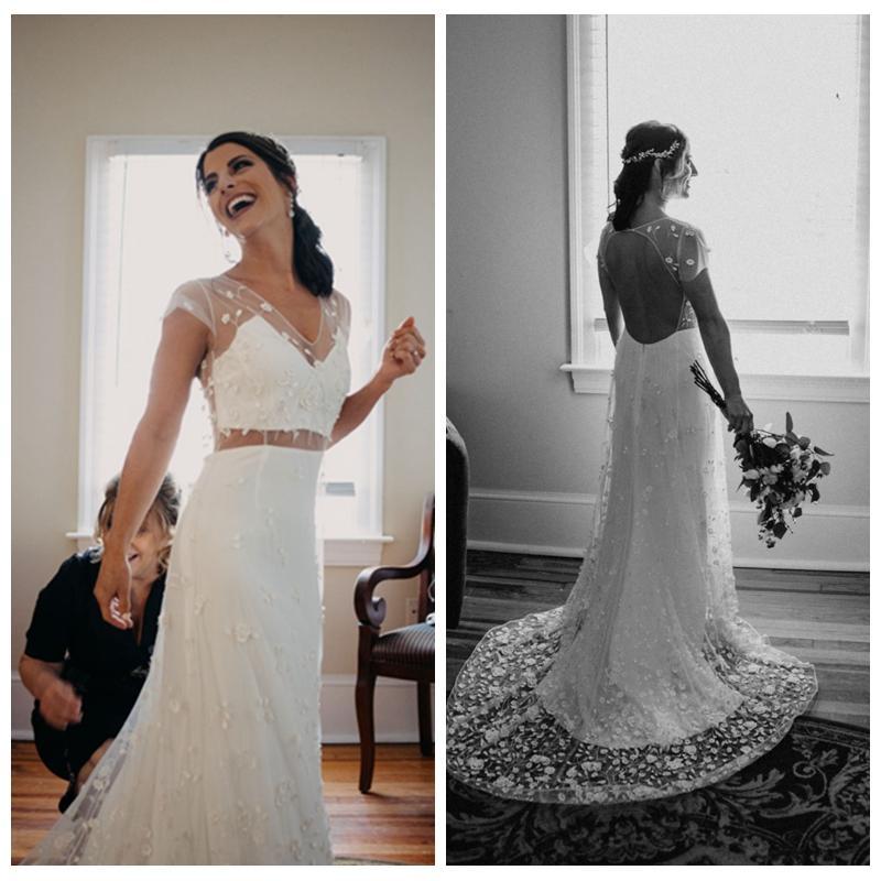 Уникальное белый A-Line нетрадиционного платье Свадебного с рукавами Кружева Аппликации Backless Свадебных платьями с поездом судом Свадебных платьями
