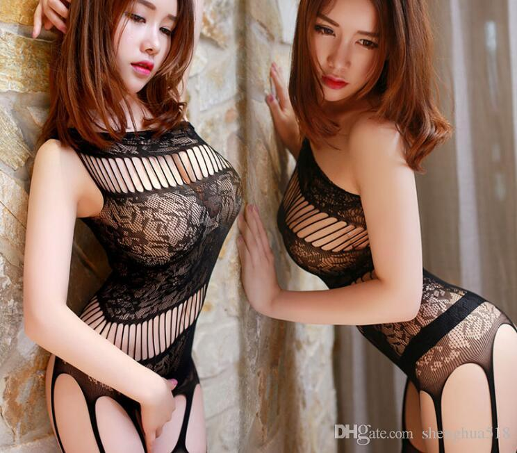 1pcs lot Sexy perspective adult sexy lingerie stockings suit transparent tights stockings open temptation black body socks