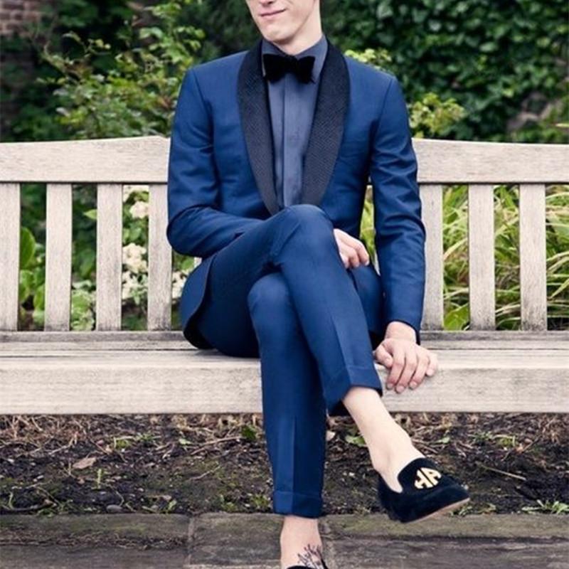 2020 최신 자켓 바지는 네이비 블루 자켓 댄스 파티 남성 정장 슬림핏 스키니 2 조각 턱시도 맞춤 정장 웨딩 남성 정장 디자인