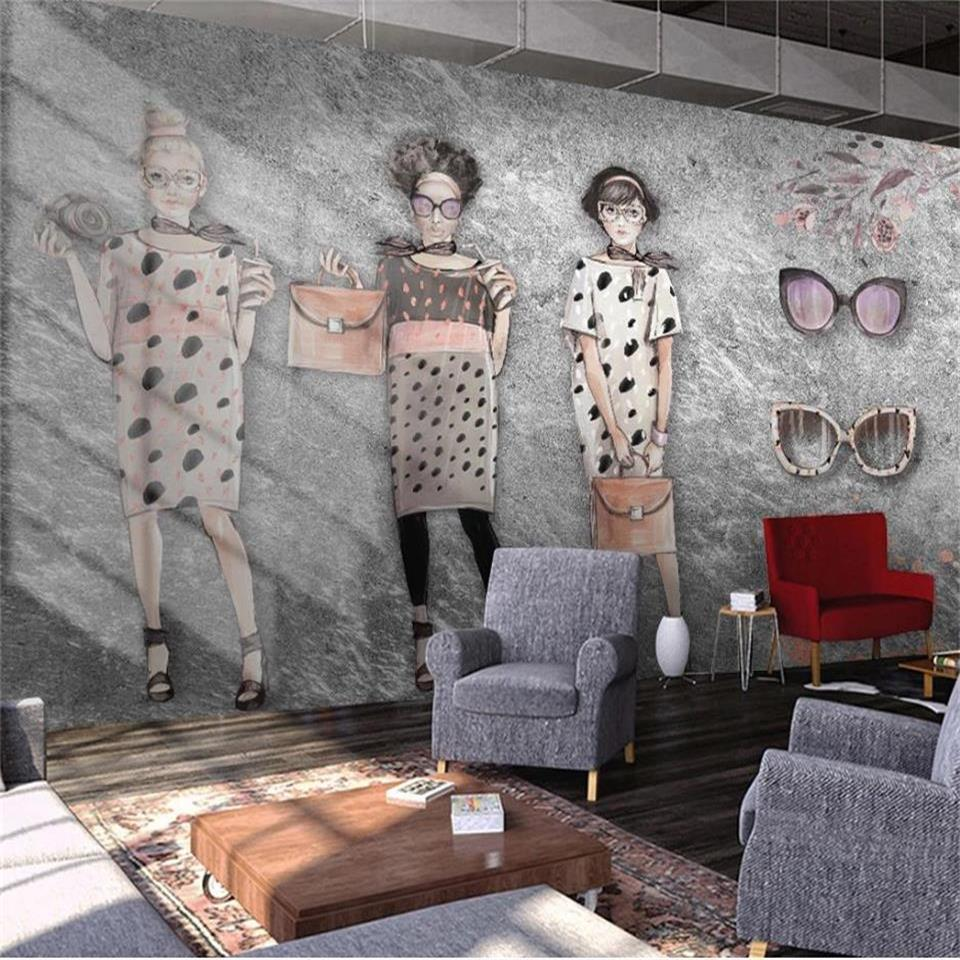 formato personalizzato 3d foto carta da parati soggiorno murale dipinto a mano retrò bellezza negozio di abbigliamento 3d divano immagine adesivo TV sfondo parete carta da parati