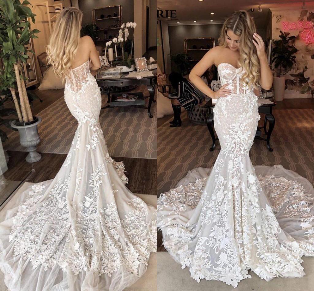 2020 Berta sirena Abiti da sposa SweetHeart Lace 3D floreale applicaled cattedrale treno estate vacanze spiaggia abito da sposa abito vestido de noiva