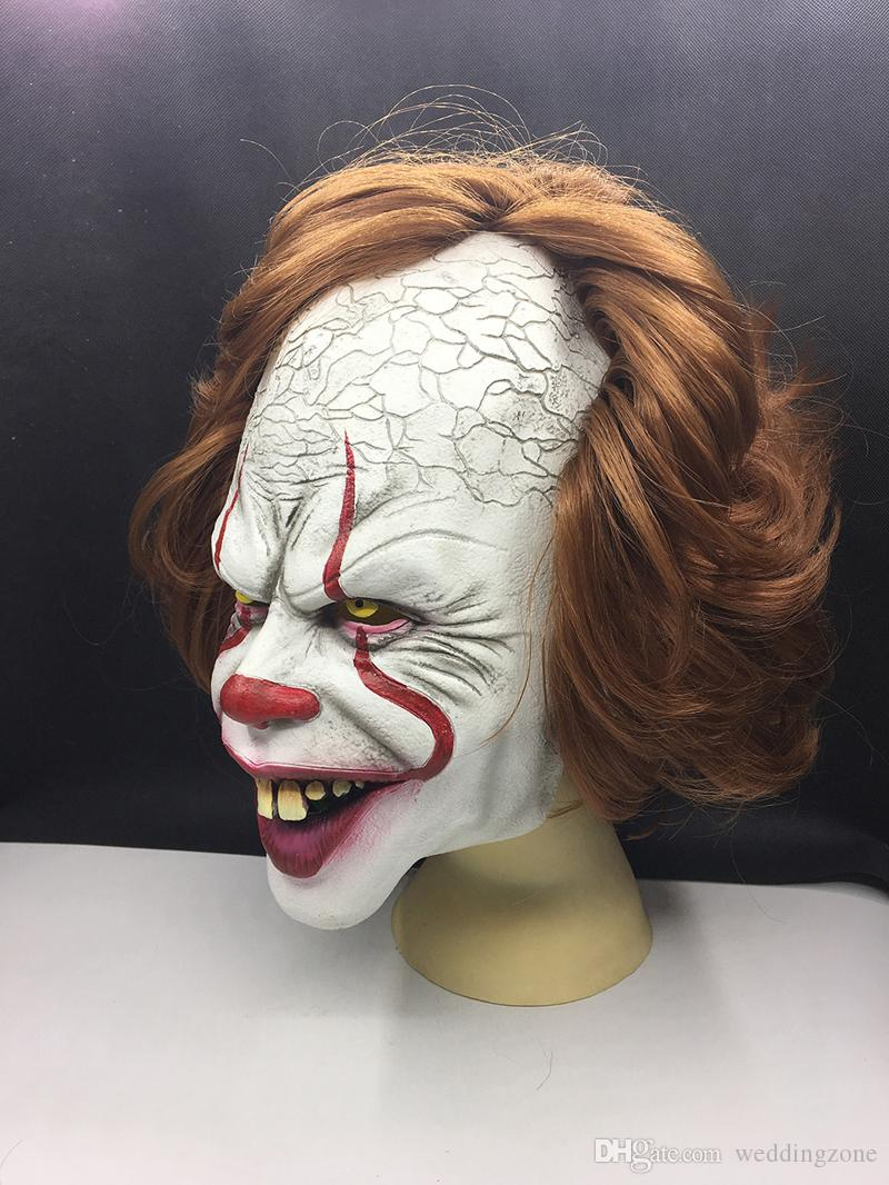 Movie Stephen Kings It 2 Cosplay Pennywise Clown Joker Mask Tim Curry Mask Cosplay Halloween Party Props Mask Celebrity Masquerade Masks Celebrity