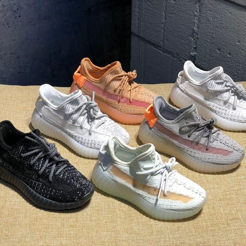 Adidas Yeezy 350 V2 kids Running Shoes Pharrell Williams Muestra Yellow Core Black niños corriendo zapatos regalo de cumpleaños del bebé 9C-3Y