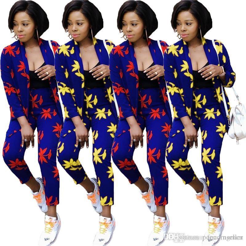 Mulheres Moda Outfits Urban Casual Imprimir Two duas cores Piece Set Verão New Street Style Roupas Femininas