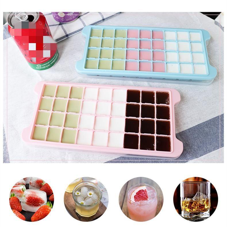 bac à glaçons en silicone 7 couleurs réfrigérateur moule bloc de glace ustensile de glaçons maison avec couvercle petit ménage congélateur boîte de fabrication de glace A07