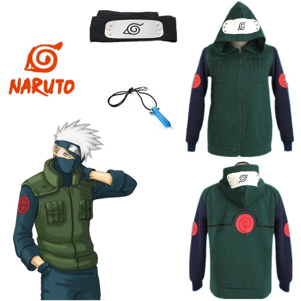 Asya Boyut Japonya Anime Naruto Kakashi Hatake Cosplay Kostüm Unisex Yeşil Uzun Kollu Kapüşonlular Ceket Coat