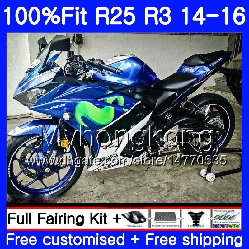 حقن الجسم ل Yamaha YZF R3 R2 R25 MOVISTAR Blue Hot YZF-R3 YZFR25 14 15 16 17 240HM.2 YZF-R25 R 25 YZFR3 2014 2015 2016 2017 fairings كيت